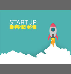 startup rocket up business project vector image
