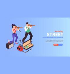 street fiddlers horizontal banner vector image