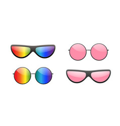 Sunglasses round icon pink rainbow sun glasses vector