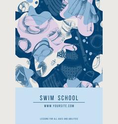 Swim school banner vector
