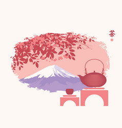 Teapot and cup on background of oriental landscape vector