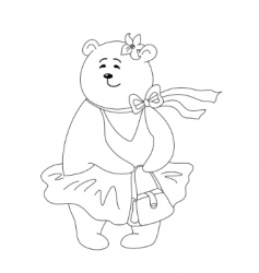 Teddy bear with handbag contours vector