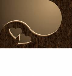 two wooden hearts vector image