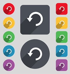 Upgrade arrow update icon sign a set of 12 colored vector