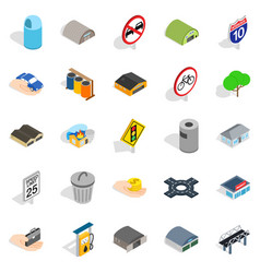 urban buildings icons set isometric style vector image