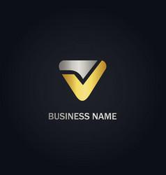 v triangle initial company logo vector image
