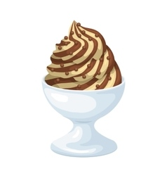 Vanilla ice cream with chocolate sauce in bowl vector