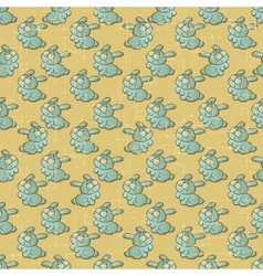 Vintage Cartoon Rabbits Pattern vector image