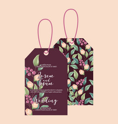 wedding flowers tag floral decoration vector image