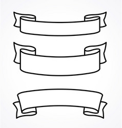 Wide ribbons banner flowing scroll blank linework vector