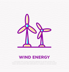 wind power two windmills thin line icon vector image