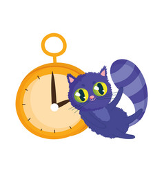Wonderland cat and clock cartoon character vector