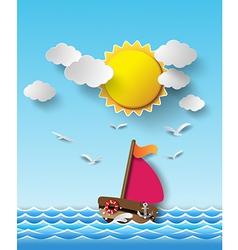 yacht on sea with sun shine vector image