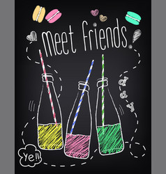 youth style poster meet friends with bottles of vector image