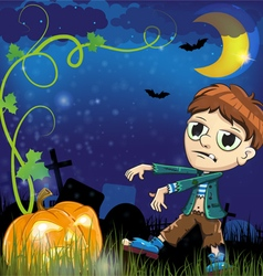 Zombie and jack o lantern vector image