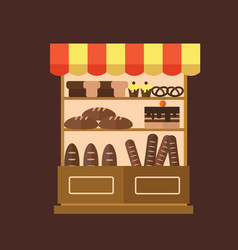 bakery shop stall with bakery products vector image