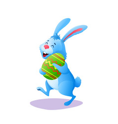 Blue cartoon easter rabbit bunny with paschal egg vector