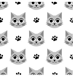 seamless pattern with cute cats and paw prints vector image