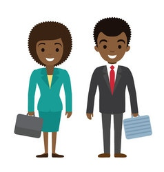Afro american businessman and businesswoman vector