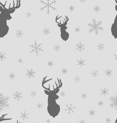 Christmas winter seamless pattern Head deer vector image vector image