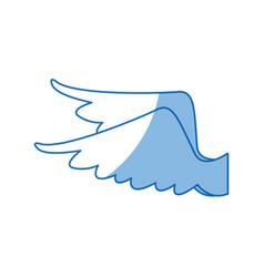 Drawing wings feather bird angel icon vector