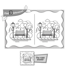 find 9 differences game black park vector image vector image