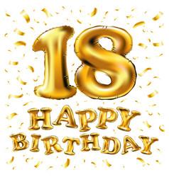 golden number eighteen metallic balloon party vector image vector image