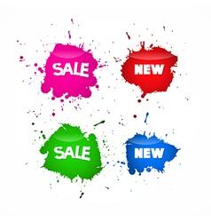 Sale Labels Tags Set in Splash Blot Style vector image