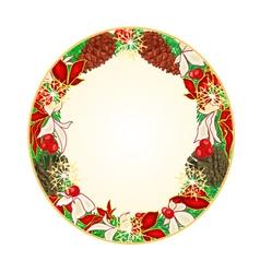 Button circular Christmas Spruce and poinsettia vector image vector image