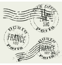 Collection of french vintage stamps vector image