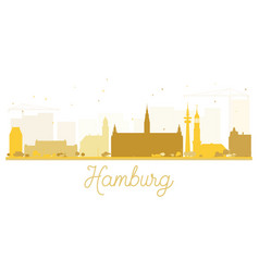 hamburg city skyline golden silhouette vector image