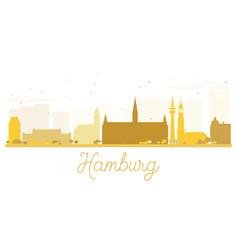 hamburg city skyline golden silhouette vector image vector image