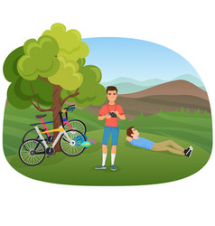 people with camera and bicycles in nature near vector image vector image