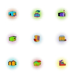 Production icons set pop-art style vector image vector image