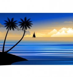 suset beach vector image vector image