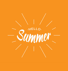 white lettering hello summer with sun rays vector image vector image
