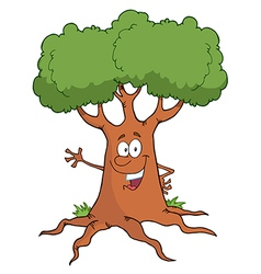 Cartoon Tree Character Waving A Greeting vector image