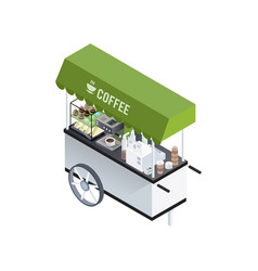 coffee cart isometric composition vector image
