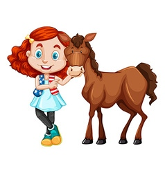 Little girl standing with the horse vector