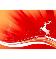 reindeer and shine Christmas tree vector image vector image
