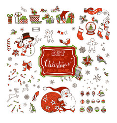 Set of christmas signs symbols decorations and vector