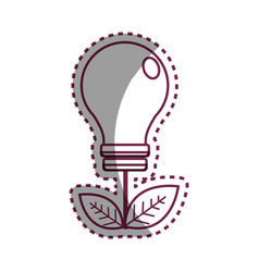 sticker energy bulb with leaves icon vector image vector image