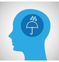 symbol weather icon silhouette head and umbrella vector image