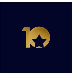 10 years anniversary star ball gold celebration vector