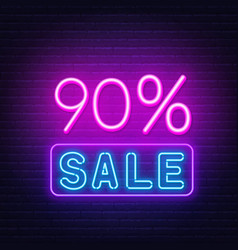 90 percent sale neon sign on brick wall background vector image