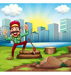 A man chopping the woods at the riverbank across vector