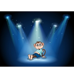 A monkey having a stomach ache with spotlights vector