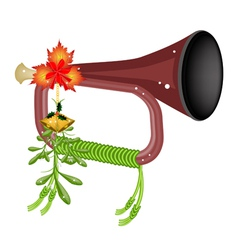 A Musical Bugle with Mistletoe and Golden Bells vector