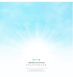 Abstract of the sun with clouds on soft blue sky vector