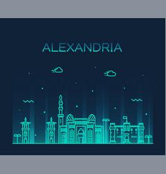 Alexandria skyline egypt drawn linear style vector